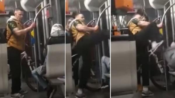 ألماني صوّروه في القطار وهو يبصق على سوري ويركله بوجهه